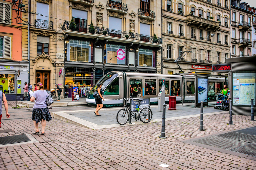 Modern Trams In The City Center Of Strasbourg In France
