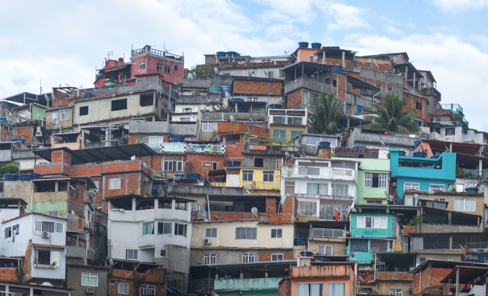 Favelas in the city of Rio de Janeiro. A place where poor people live.