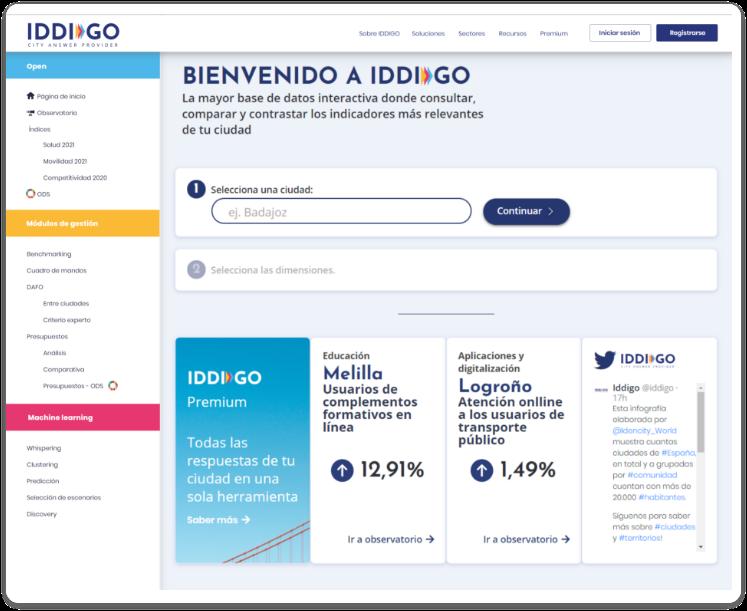 Pantalla web IDDIGO
